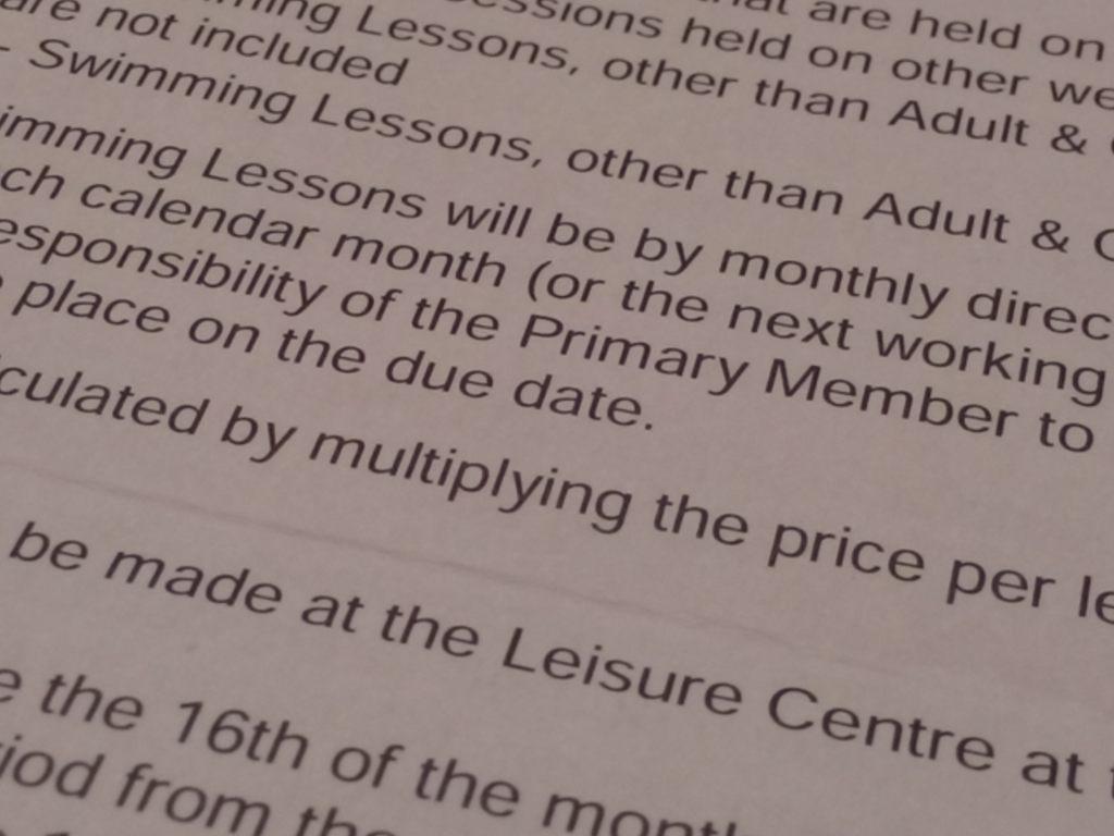 swimming lesson direct debit terms