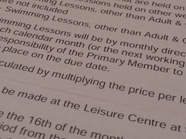 swimming lesson direct debit terms
