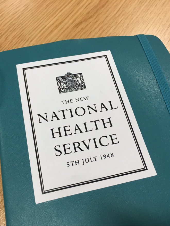 Notebook with sticker: 'The New National Health Service 5th July 1948'
