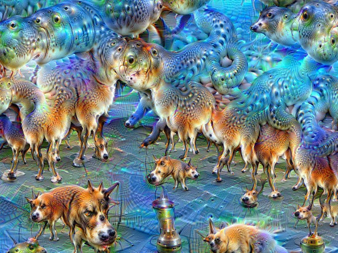 Applying fifty iterations of DeepDream, the network having been trained to perceive dogs CC0 MartinThoma