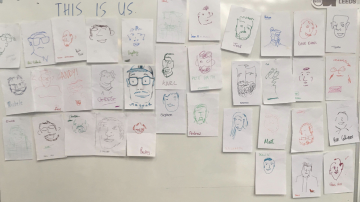 Sketches of designers' faces