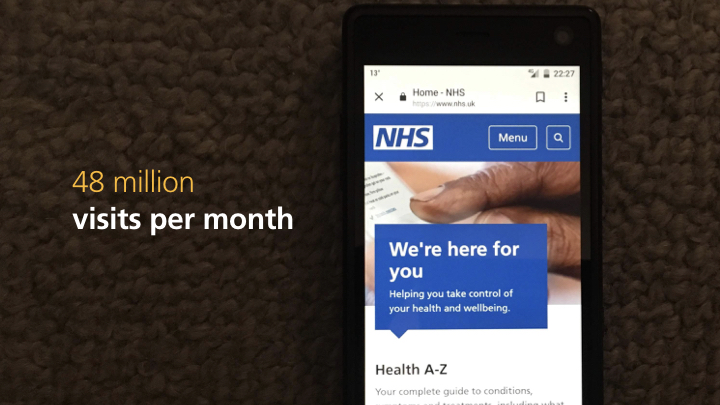 NHS website homepage on a phone - 48 million visits per month