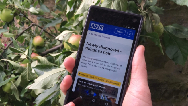 NHS website page on phone: Newly diagnosed - things to help