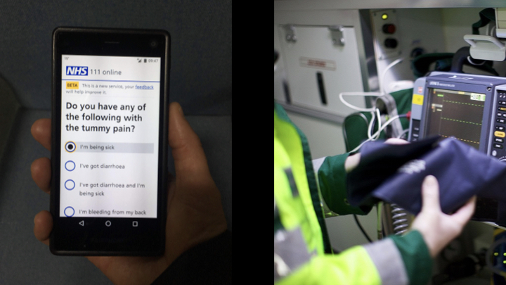 Left: NHS 111 Online on a phone; Right: Paramedic using machinery in an ambulance