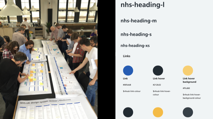 Left: designers reviewing printed out screenshots; Right NHS website headings and colour palette