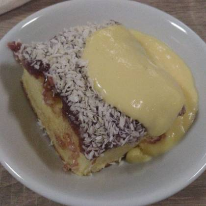 Coconut sponge cake and custard
