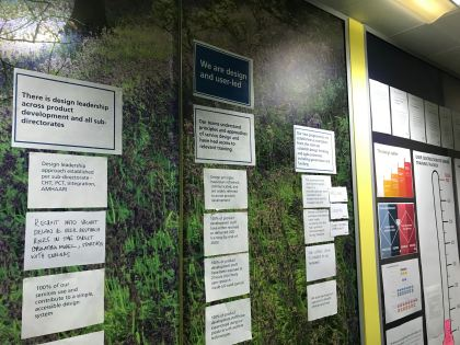 """Wall with A4 printouts headed """"We are design and user-led"""""""