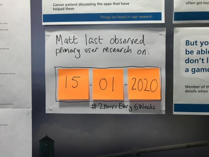 "A4 paper on wall, written in black market pen: ""Matt last observed primary usder research on:"" with sticky notes showing the date 15-01-2020, and hashtag #2HoursEvery6Weeks"