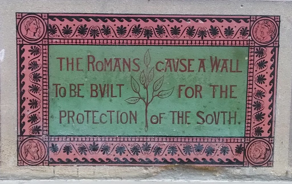 "Painted inscription on a wall: ""The Romans cause a wall to be built for the protection of the South"""