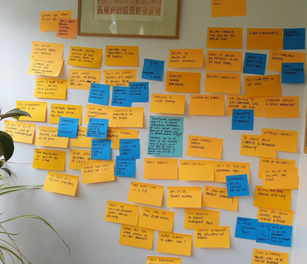 Wall with the same orange sticky notes spread across, additional blue sticky notes overlaid