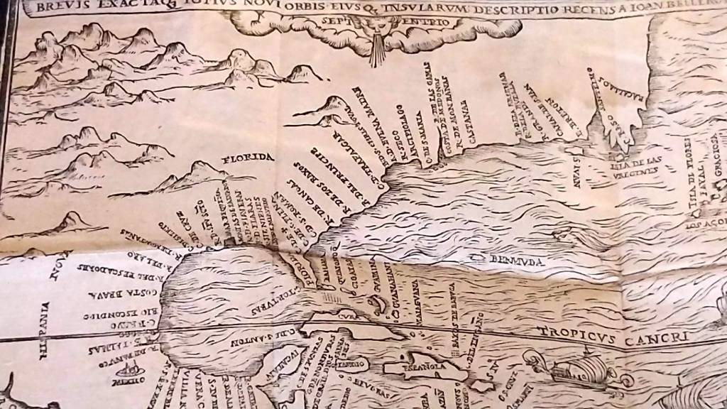 Section of a 17th Century map of Florida and the American east coast